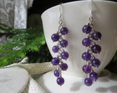 Amethyst cluster earrings, February birthstone earrings, nine amethyst rounds hung on each sterling silver chain