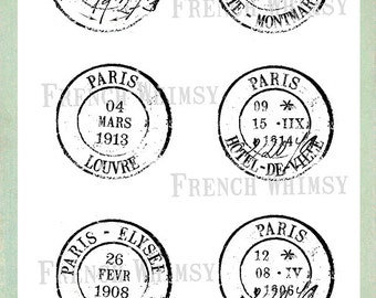 6 Large Paris  Postmark / Cancellation Stamp Overlays. Transparent Background.  6 PNG Files Digital Download. Great for Crafters. - CU OK