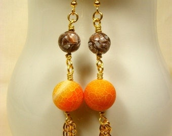 Chocolate and Orange Tassel Earrings