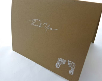 Baby Thank You Cards, Set of 8 with Matching Envelopes (In White, Blue, Pink)
