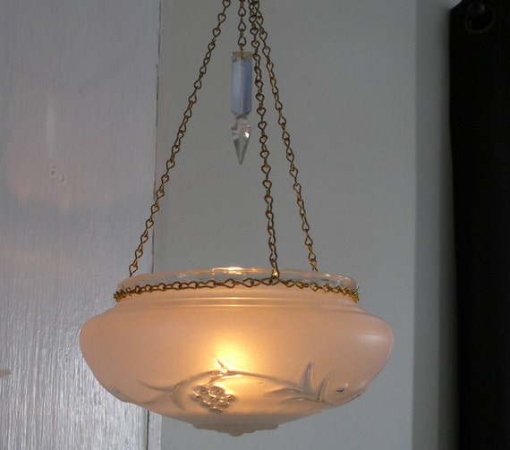 Items Similar To Vintage Hanging Candle Holder Frosted