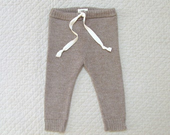 Drawstring pants / baby alpaca wool leggings for babies and toddlers / gray / brown pants for boy / girl / toddler / kids