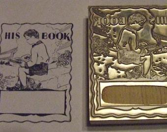 """Bookplate """"His Book"""" Letterpress Printing Block - Letterpress Blocks - Print Blocks - Mounted Letterpress Block"""