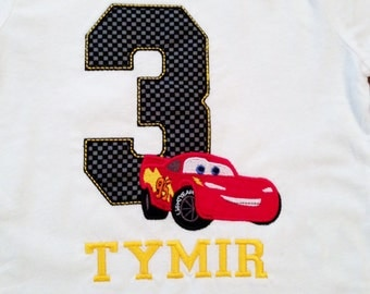 Lightning McQueen Cars Disney Birthday Number Shirt /Onesy with Embroidery Name (Personalizing Included)