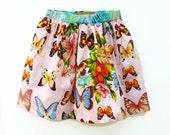 Girls Pink Skirt,  4-5 Years Girls Skirt, Butterflies Print