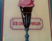 Vintage 1980s-90s Framed Needlepoint- Ice Cream Soda/Ice Cream Parlor- Great Kitchen Decor, Kitchen Wall Decor, Ice Cream Picture