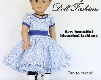 Pixie Faire Heritage Summer in Blue 1850s Dress Doll Clothes Pattern for 18 inch American Girl Dolls - PDF