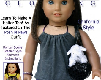 Pixie Faire Liberty Jane Malibu Halter Top Doll Clothes Pattern for 18 inch American Girl Dolls - PDF
