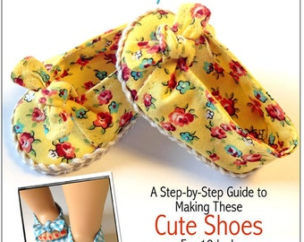 Pixie Faire Miche Designs Bow Tie Slip-On Doll Shoe Pattern for 18 inch American Girl Dolls - PDF