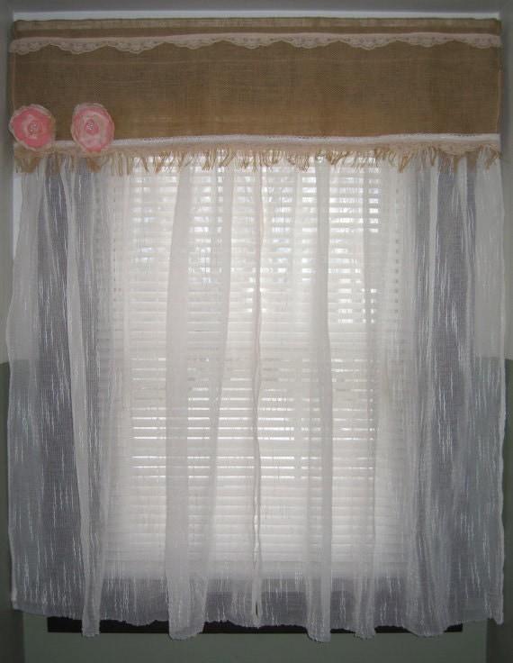 Handmade Burlap Lace Combination Window By