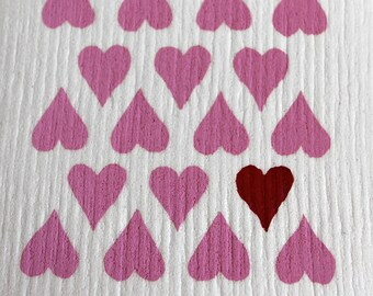Heart pattern design - hand screen printed authentic Swedish Dish cloth