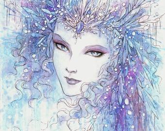 Free Shipping to US - Fantasy Art Print 5x7 - Snow Queen - Blue Purple  - Fantasy Illustration - by Mitzi Sato-Wiuff