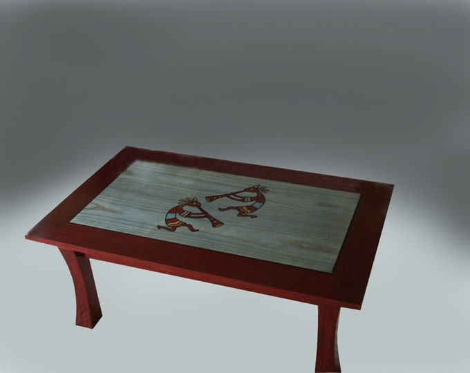 Kokopelli Southwest Coffee Table with Gabon Ebony Inlay