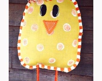 Easter chick burlap Door Hanger Spring decor