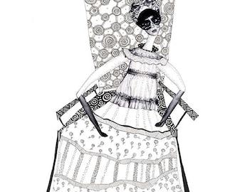 Black and white print, illustration.