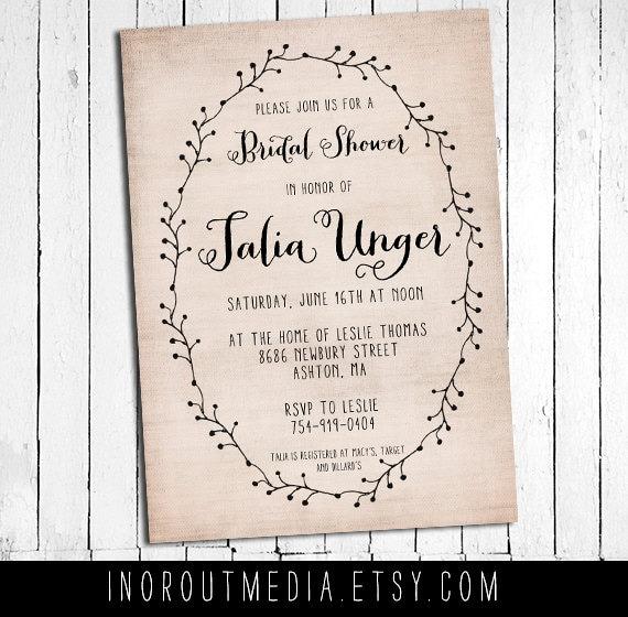 Rustic Bridal Shower Invite, bridal shower invitations  - The Talia - Rustic, vintage, laurel, wedding shower, couples shower, vintage