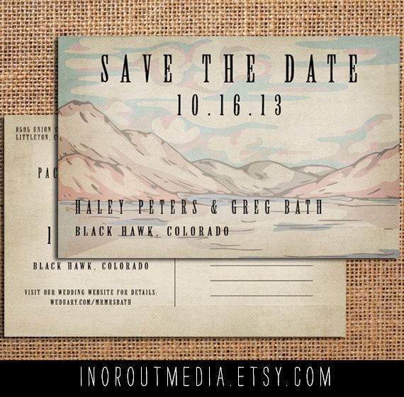 Mountain Save the Date, Save the Date card - The Mountains - save the date postcard, rustic save the date, woodland wedding, eco friendly