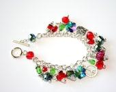 Red and Green Crystal Charm Bracelet, christmas bracelet,Crystal bracelet,charm bracelet, Colorful Bracelet ,silver chain bracelet