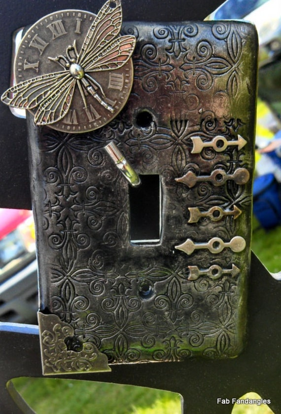 Steampunk Inspired Dragonfly Time Polymer Clay Light Switch