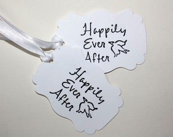 10  Wedding Favor Tags, Happily Ever After Tags, Bridal Shower Tags, Engagement Party Favor Tags