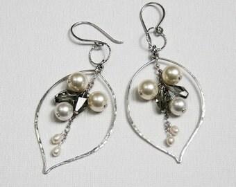 Pearl Cluster Earrings Evening Earrings Silver Leaf Earrings Swarovski Dangle Earrings  Wedding Earrings New Years Earrings Christmas Gift
