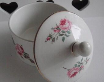 Old Foley Staffordshire China. Vintage Bonbonnière (candy jar).  floral decor, very good condition.