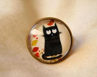 ring with cat, bird and flowwers; Bague cabochon chat noir, oiseau et fleurs.