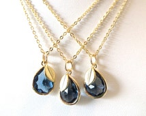 Set of 3 Sapphire Blue Bridesmaid Necklace Gold Leaf Necklace Navy Royal Blue Yellow Gold Chain Something Blue Bridal Jewelry Blue Wedding