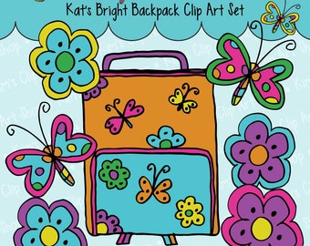 Kat's Bright Backpack Clip Art Set backpack, flowers, butterflies, commercial use, personal use, scrapbooking