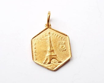 Eiffel Tower Charm, Paris, Gold Charm, Brittanium, Pewter Charm, Coin Jewelry, Paris Necklace, Gold Pendant, Silver Charm