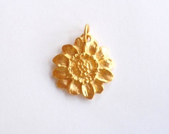 Gold Sunflower Charm, Gold Charm, Flower Charm, Wildflower, Pewter Charm, Silver Charm, Brittanium, Flower Pendant, Flower Earrings