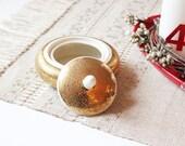 Vintage Bavarian Gold Ceramic trinket box Jar with lid