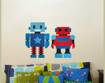 Robot Pair Fabric Wall Decal