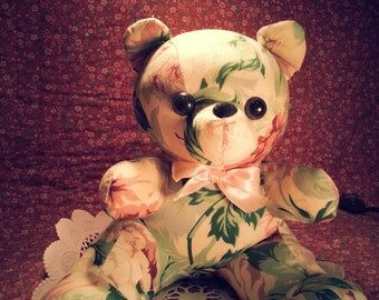 Bear Pink and Green Stuffed Teddy Bear Pink Green Floral Muslin Home Decor Shabby Chic Cottage Chic I Ship Internationally