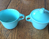 Texas Ware Melmac Turquoise Creamer and Sugar Bowl