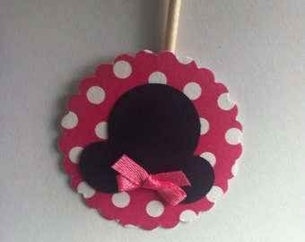 12 Minnie Mouse Cupcake Topper - Hot Pink w/ White Polka Dots