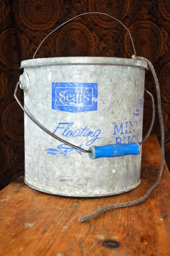 Vintage Sears Floating Minnow Bucket 10 Quart Bait Pail