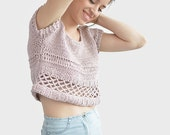 Cotton Crop Top, Blush Pink Crop Top, Crochet Womens Short Top, Hand Knit Summer Top, Pastel Short Sleeve Blouse, Pure Cotton Boho Cropped