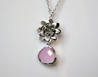 Lotus flower necklace with rose briolette drop