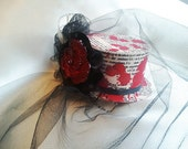 Horror Film Mini Tophat with Black Organza Veil / Gothic Veil Dexter Inspired Fascinator - Oh the Horror