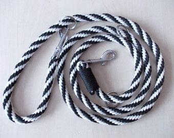 dog leash, hand-plaited, black - white