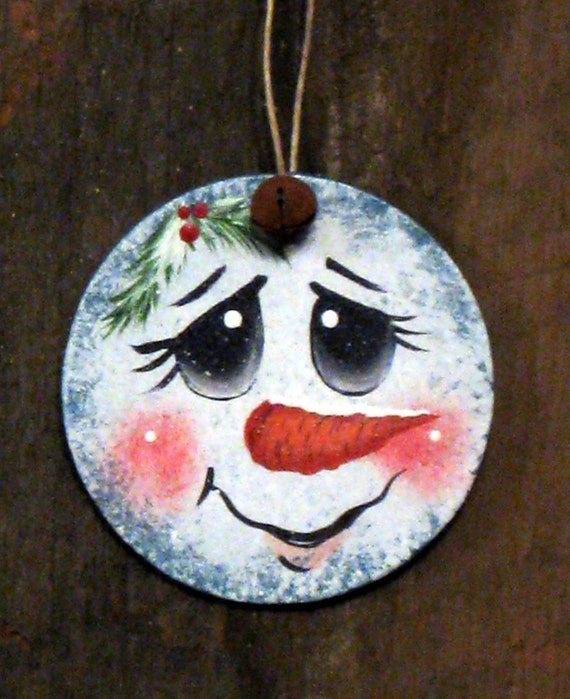 Snowman handpainted wooden ornament for How to paint snowmen