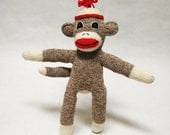 Sock monkey stuffed toy small brown Rockford Red Heel sock monkey in a felt beanie OOAK  baby shower gift 100% hand-sewn happy toy boy girl - TheMonkeyVillage