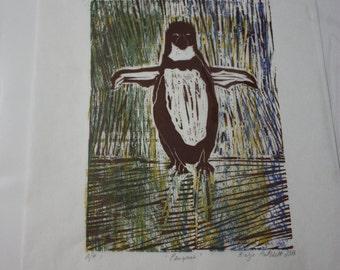 Woodblock Handprinted Art Print of Penquin