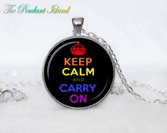 Keep calm and carry on jewelry keep calm and carry on necklace keep calm and carry on pendant for men for her for women colorfull black