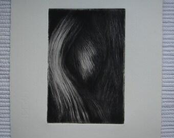 """Original drypoint etching  """"Flow"""""""