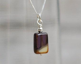 Purple Czech Glass Sterling Silver Pendant Necklace