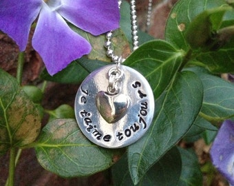 "I love you always  French quote ""je t'aime toujours"" Hand Stamped Necklace"