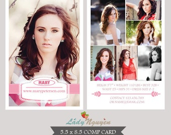INSTANT DOWNLOAD - Modeling Comp Card Photoshop templates - CA054