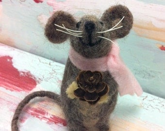 Needle Felted Gray Mouse